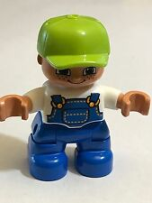 *NEW* Lego DUPLO BOY Blue Legs White Top Blue Overall Lime Green Cap