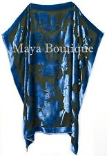 Caftan Dress Kimono Silk Burnout Velvet Blue Black Hand Dyed Maya Matazaro