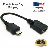 2X Micro USB Male to Mini USB Female OTG Charger Adapter Converter Data Cable