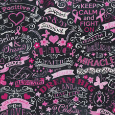 Pink Ribbon Breast Cancer Keep Calm Believe on Black Quilt Fabric FQ *New*