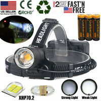 990000LM XHP70.2 LED Headlamp Zoom USB Rechargeable 18650 Headlight Super Bright