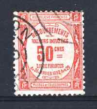 "FRANCE STAMP TIMBRE TAXE 47 "" 50c ROUGE "" OBLITERE TB  P982"