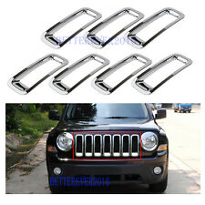 For 2011-17 Jeep Patriot ABS Chrome Front Grille Grill Insert Frame Cover Trim
