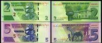Zimbabwe SET 2 Pcs 2 & 5 Dollars 2016 - Pick 99 Pick 100 UNC