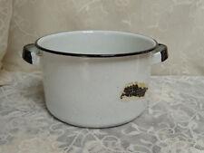 Vintage Stock Pot White & Black Specks Enamel Sauce Pan, Camping Cooking
