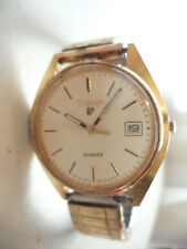 Vintage Pulsar Quartz Water Resist Gold Tone Date Men's Wrist Watch Y562 812L!22