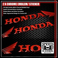 "2 X 6.25""x 1.5"" 3D ABS HONDA WING LOGO EMBLEM DECAL+LETTER STICKER CHROMED RED"