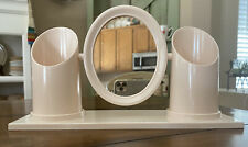 Cosmetic Vanity Mirror & Brush Holder Plastic Pink