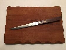 Vtg Teak Wood Cutting Board German Rectangle Cheese Tray Knife Ihre Sparkasse