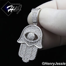 MEN WOMEN 925 STERLING SILVER LAB DIAMOND ICED EVIL EYE HAMSA HAND PENDANT*SP178