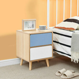 Bedside Table Chest of Drawer & Solid Wood Leg Bedroom Furniture Storage Modern
