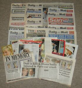 Over 100 Princess Diana Newspaper Clippings / Cuttings & Colour Photographs