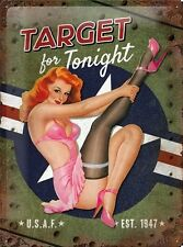 A3 Retro Tin Metal Embossed Sign 'TARGET FOR TONIGHT' 1950's U.S.A.F. Ad Pin up