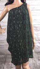 Love 2 Dress Medium Green Black Animal Print Single Shoulder Sexy Style Mini