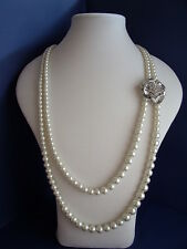 New Long Faux Pearl Necklace of 2 strands with a Silver & Diamante Flower