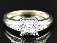 Ladies 10K Yellow Gold Princess Solitaire Diamond Engagement Wedding Bridal Ring