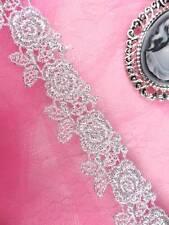 "C112 Elegant Silver Metallic Rose Victorian Venice Lace Trim 1"""