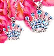 Light Blue Crown Princess Tiara Necklace Chain Crystal Silver Tone Kids Pendant