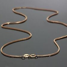 Perfect Real 18k Rose Gold Necklace Lucky 0.7mm Box Link Chain 17.7inch Au750 1g