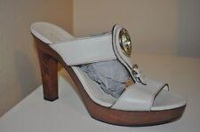 GUCCI Saddle Leather 1973 Logo Heel Wooden Platform Clogs Shoe Mystic White 10.5