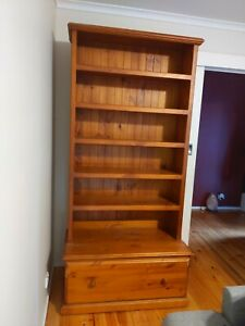 Timber book case with drawer large bookcase stained
