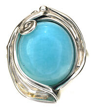 Hagit Gorali Blue Amazonite Cabochon scroll Sterling Silver Ring Size 6