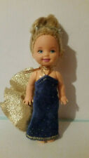 VINTAGE  KELLY SHELLY DOLL BARBIE MATTEL BLONDE HAIR.PARTY GOLD NAVY DRESS 1994