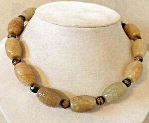 Barse Necklace Genuine Honey Jade & Tiger Eye Stones