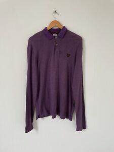Lyle & Scott Purple Long Sleeve Polo Shirt Top Collared Soft Cotton Size Medium