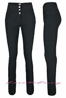 Ladies Black High Waisted Trousers Good Quality School Work Stretch Skinny Pants