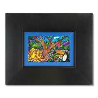 Romero Britto AMAZON MINI Framed Hand Signed Giclee on Canvas and Authenticated.