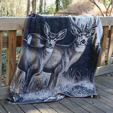 IBENA Wildlife Soft and Plush Jacquard Woven Cotton Blend Throw Blanket Stag