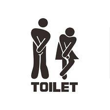 Door Decoration Toilet Sign Wall Stickers Funny Bathroom Hotel Vinyl Decals AU