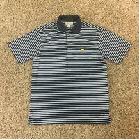 Masters Performance Men Sz S Black White Blue Golf Polo Shirt Striped Augusta