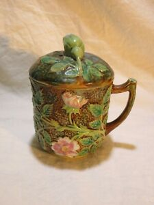 majolica cup with cover