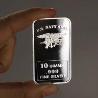 "USN Navy Seal design. 10 grams .999 silver bullion bar. ""NEW"" Military"