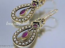 CHARMING Genuine 9ct SOLID Gold NATURAL Ruby & Pearl Drop EARRINGS Vintage charm