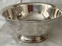"""Vintage Gorham Silverplate 8"""" Footed Serving Bowl YC780 Paul Revere style"""