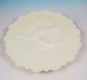 L G Wright Peacock Vaseline Custard Milk Glass Cake Plate w/ Northwood Trademark