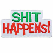 SH*T HAPPENS! White Joke Retro 70's Name Slogan Biker Tattoo Iron-On Patch #T010