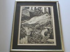 ALBERT DECARIS ETCHING LARGE ART DECO MASTERFUL NUDES LE JARDIN ANTIQUE SURREAL