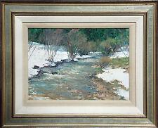 Nikolo Balkanski Hand Signed Original Oil Painting Art river through snow, OBO!