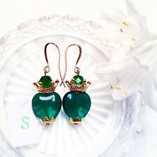 Emerald green Vintage glass Sacred heart earrings Catholic Milagro Tattoo ExVoto