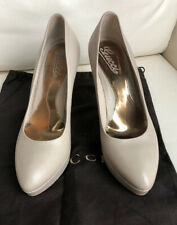 GUCCI Taupe LEATHER Pointed TOE PLATFORM PUMPS HEELS SHOES 38.5/8.5