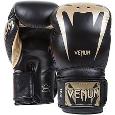 New Venum Giant 3.0 MMA Kickboxing 16oz Nappa Leather Boxing Gloves - Black/Gold