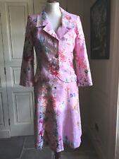 Renato Nucci Designer 100% linen pink flowery dress & jacket suit size 38 & 40