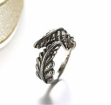 Antique Silver Plt Feather, Angel Wing Ring / Thumb Ring Adjustable Ladies Gift