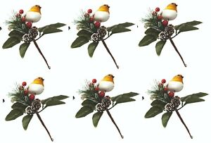 6 x 25CM Large Robin Glitter Pick with Snowy Pine Cones & Berries-GARLAND WREATH