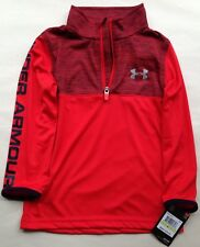 NWT UNDER ARMOUR BOYS RED LONG SLEEVE TOP SHIRT 27D54188-60 SIZE 4 $34.99