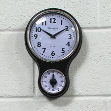 Retro Kensington Kitchen Wall Clock with Timer. Traditional Style - 30cm High.